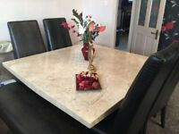 Italian marble dinner table four leather chairs and two leather benches