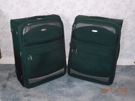 """For Sale 2 Carlton Suitcases Dark Green 26""""x20"""" very good condition buyer collects"""