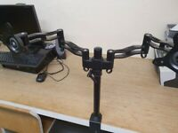 5 dual arm black monitor arms with clamp