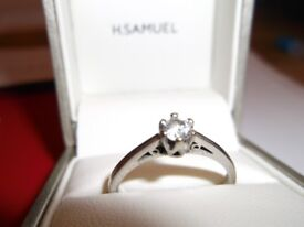 Diamond white gold solitaire ring.