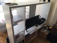 TV storage Unit LAPPLAND White + 4 Baskets