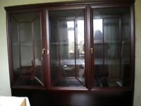 brown display cabinet with lights - comes in two parts 54w 70h 18d north leigh 01993 882206