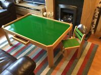 GIANT PLAY TABLE WITH DRAWER AND CHAIR FROM PINTOY AT JOHN LEWIS COST £150