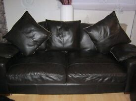 LARGE ITALIAN BLACK/BROWN SOFT LEATHER SOFAS X 2 3 SEATERS