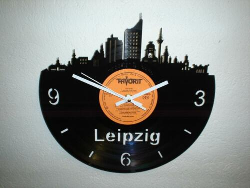 wanduhr schallplatte uhr skyline leipzig souvenir von mbi. Black Bedroom Furniture Sets. Home Design Ideas