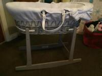 Grey wicker Moses basket & rocking stand