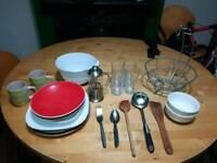 Kitchen set. Mugs, bowls, plates, forks, spoons, glasses, cafeteries, fruit bowl, large bowl...