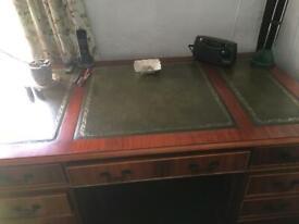 Desk - Regency reproduction double pedestal
