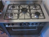 Freestanding gas electric range cooker 90cm stainless steel INDESIT KP9507