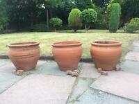 3 clay garden pots plus feet