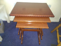 3 x Nests of 3 Tables - ALL DIFFERENT check photos - solid wood