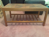 Wood & Ceramic Tile Coffee Table