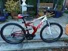 mans fs.26 apollo red and white 17 inch frame duel suspension bike with lock