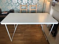 White Dining Room Table with Four Wooden Chairs
