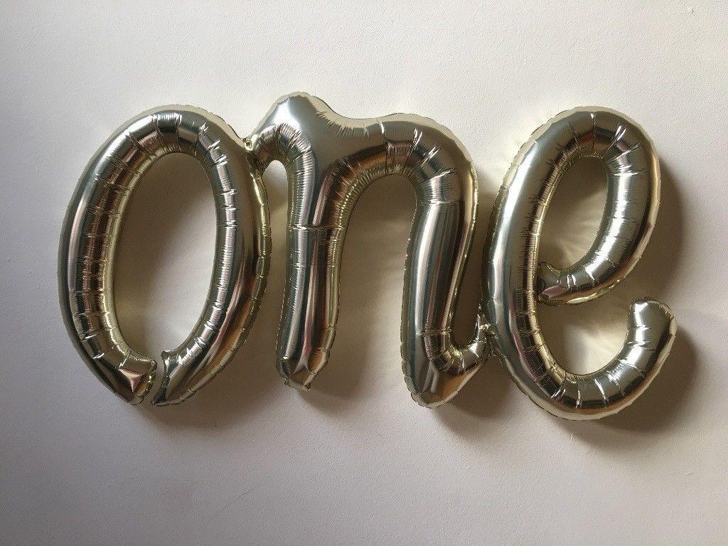 One Foil Balloon White Gold Script Baby 1st Birthday Banner