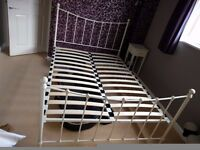 Double bed white metal bed frame from Dreams