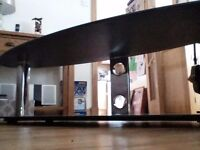 Black glass TV unit for big screen tv