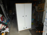 Child's wardrobe - white melamine with solid hardwood top and base and rope handle