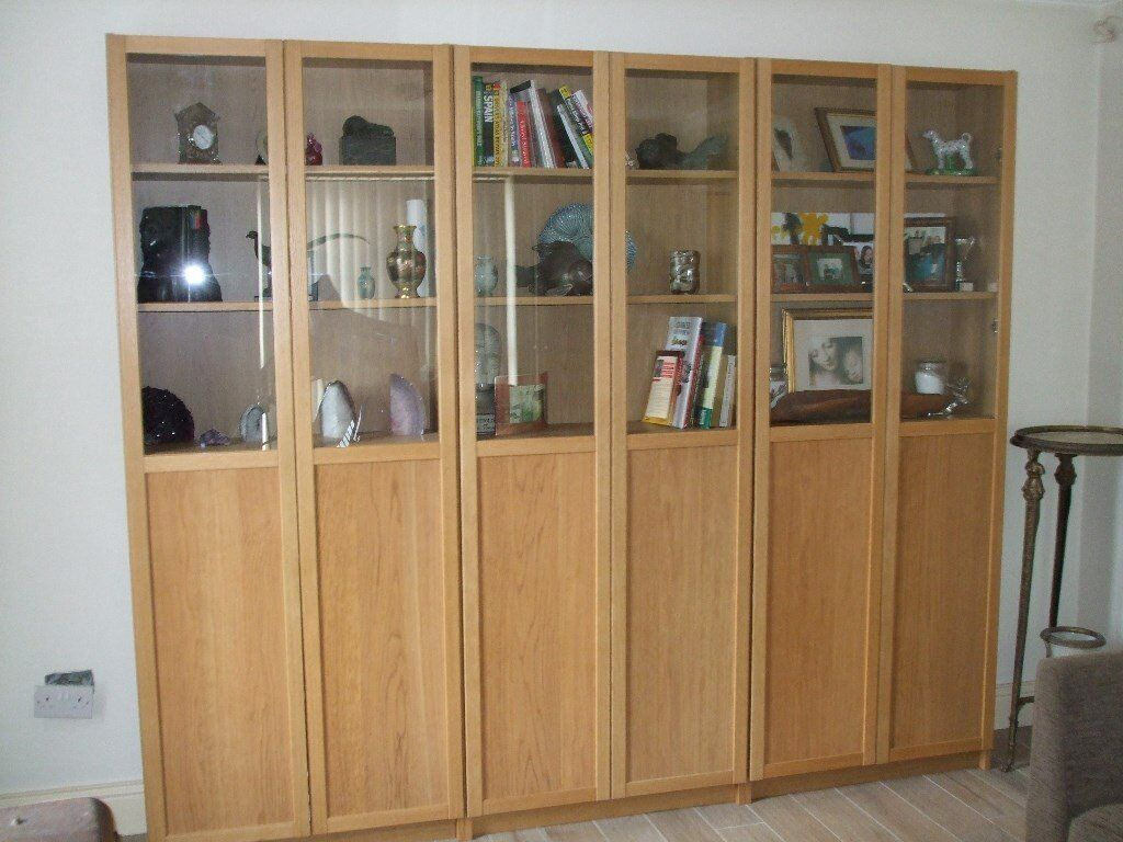 billy bookcase oxberg from ikea three of them display case half glass in portadown county. Black Bedroom Furniture Sets. Home Design Ideas