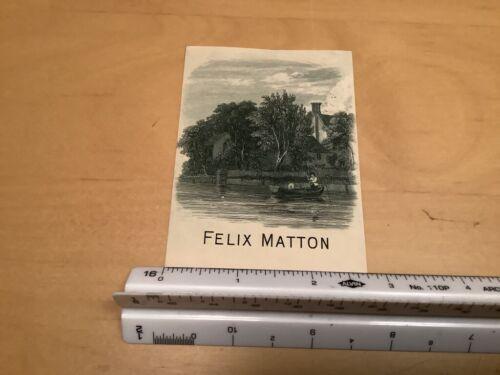 Original BOOKPLATE - on boat in water - FELIX MATTON