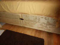 SLEEPEEZE DOUBLE BED BASE WITH 4 DRAWERS, WHITE HEADBOARD WITH DENIM