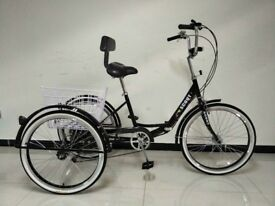 """Adults tricycle, folding frame, 24"""" wheels, 6-speed shimano gears, SCOUT trikes, adult trikes"""