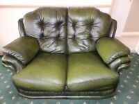 Two - Two Seater Leather Sofas In Two Tone Green For Sale