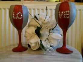 Love glitter glass set