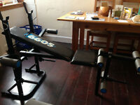 York weight bench and dumbell/barbell weight set for sale - good condition