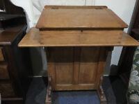Fab Antique Victorian Rare Solid Oak Schoolmasters Desk