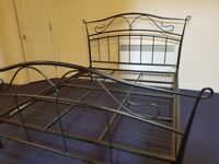 Metal big Double Bed - grey with mattress - delivery available