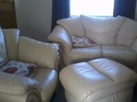 2 seater leather sofa chair and foot stool clean with no marks