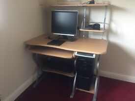 Beech effect with steel frame computer desk/work station
