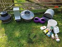 Chicken/poultry feeders and drinkers & products