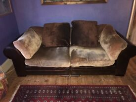 2 seater sofa with brown leather base