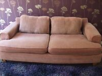 3 seater large sofa - plum-coloured, low back. Fabric covers; all washable. Good condition