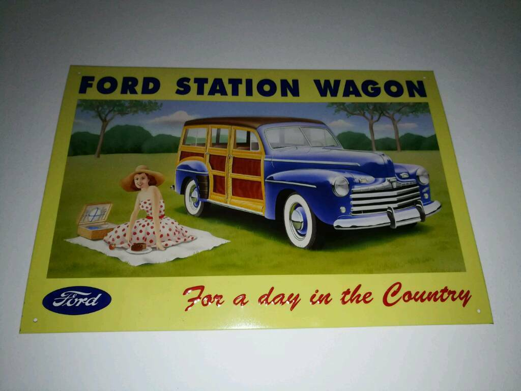 Metal sign, embossed Ford station Wagon, vintage style
