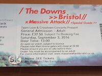 Massive Attack, The Downs, 3 Sept - 2 tickets, £55 each