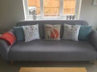 2 Grey Sofas + Armchair and Footstool, Great condition, modern and stylish.