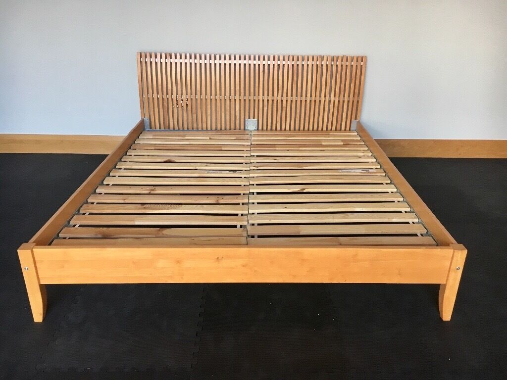 Ikea super king size wooden bed frame with slats in for Ikea king size bed frame