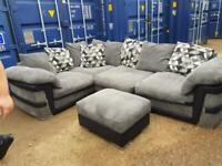 Dfs black and gray corner sofa and puff