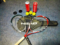 *Two* Almost NEW original HEAD tennis rackets with HEAD case and 6 HEAD tennis balls