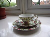 Cup and saucer, three floral design mugs by Royal Kendal, Teapot, all new