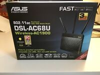 Asus DSL-AC68U Wireless Router AC1900 Mbps Dual Band 4 Ethernet & 1 USB port
