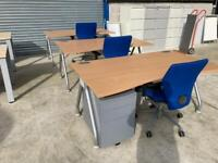 Beech wave desk £90 each 1.6 wide x 0.9 deep