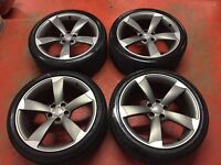 "19"" GENUINE AUDI A4 S LINE BLACK EDITION ROTOR TTRS ALLOY WHEELS TYRES A6 B8 5x112"