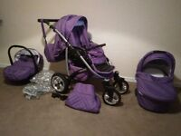 stroller buggy 3 in 1 QBARO Car Seat + baby pram + stroller + Buggy Travel Very Good Condition
