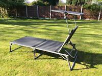 Ultranatura sun lounger with canopy, folds, light weight, 5 backrest positions, can lie flat.