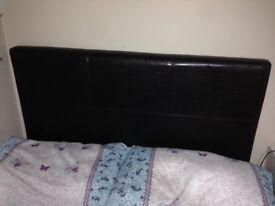 Brown Faux Leather Headboard For Single Bed