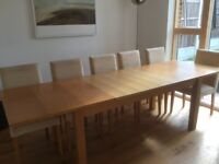 Dining table - rectangular extending dining table from Habitat. Light oak colour.